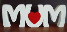 MUM freestanding wooden name plaque/sign with red heart Large wooden letters